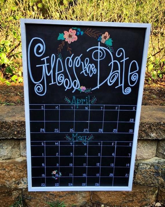 Guess The Due Date Calendar Custom Hand-Lettered Chalkboard Due Date Guess Calendar