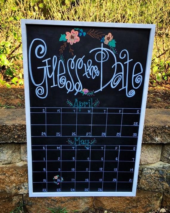Guess The Due Date Calendar Custom Hand-Lettered Chalkboard Guess Due Date Calander