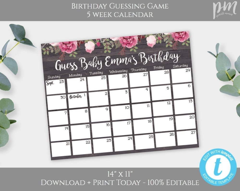 Guess The Due Date Calendar Template February 2020 Guess Baby Birthday Calendar