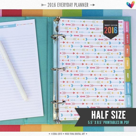 H 2016 Everyday Planner Pages Pdf 5.5 X 8.5 A5Misstiina Weekly Planner Template 5.5