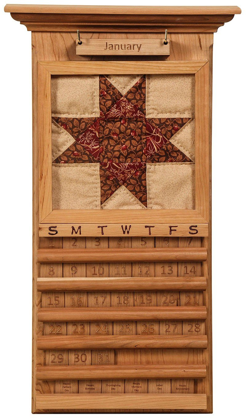 Handcrafted Perpetual Quilt Calendar - Perpetual Wooden 3 Month Calendar Frame