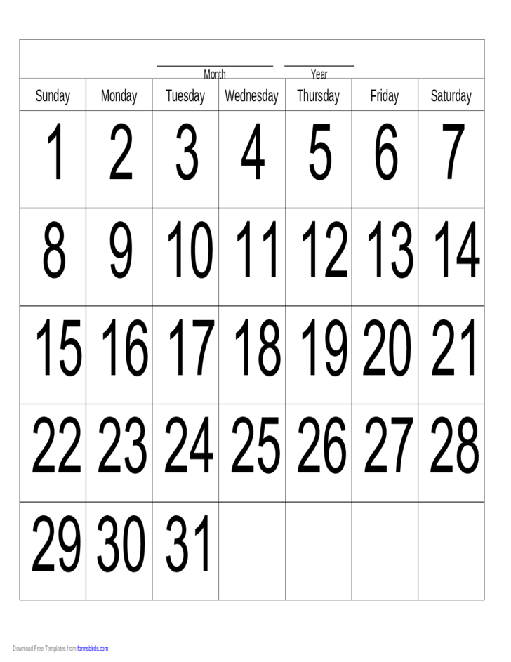 Handwriting Calendar - 31 Day - Sunday Free Download 31 Day Monthly Schedule