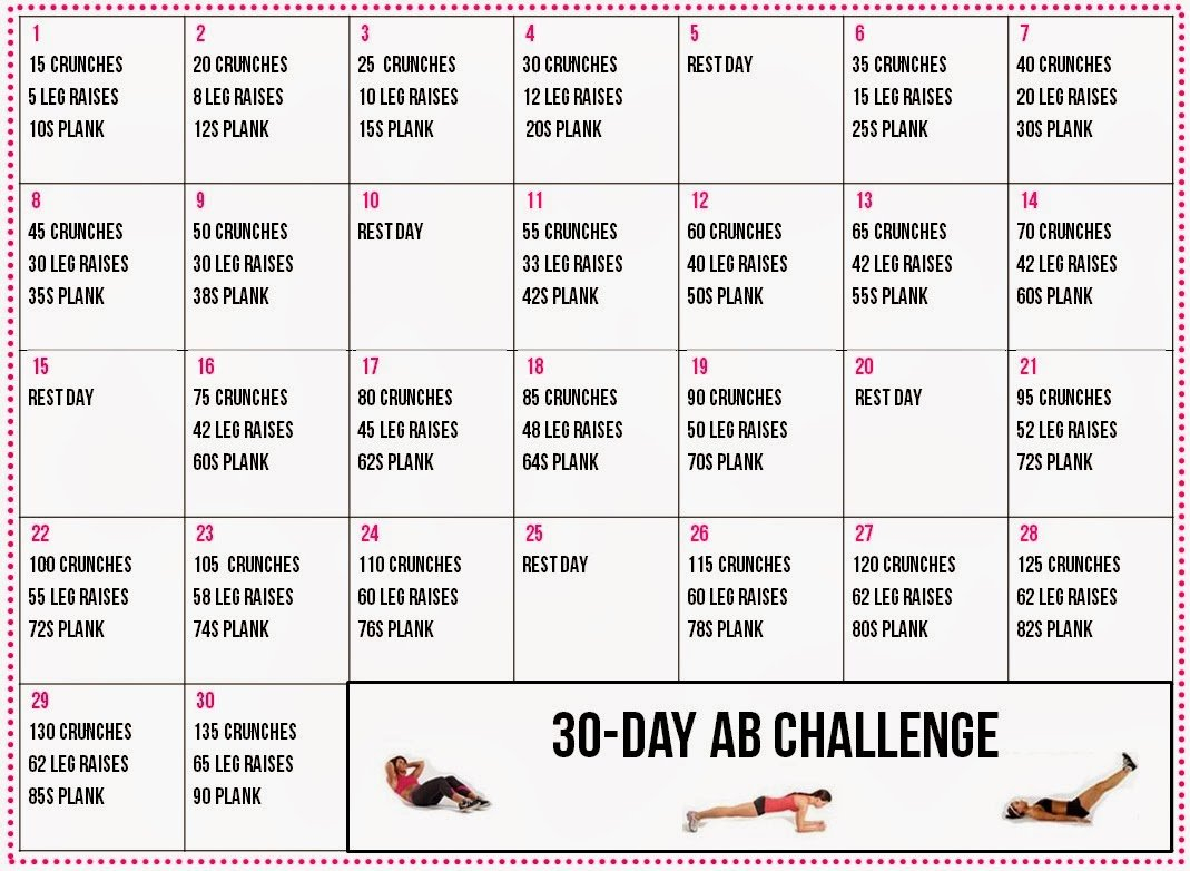 Healthy Living: 30-Day Ab Challenge Calendar 30 Day Plank Challenge Calendar Printable