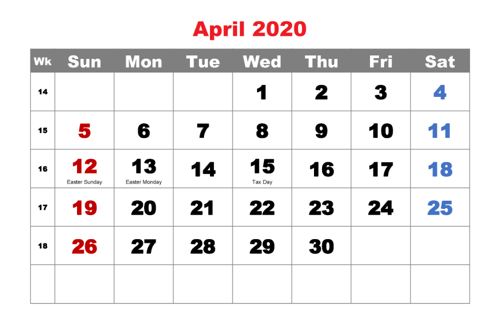 Here You Can Use The Blank Columns Provided In The April Calendars That You Can Fill In