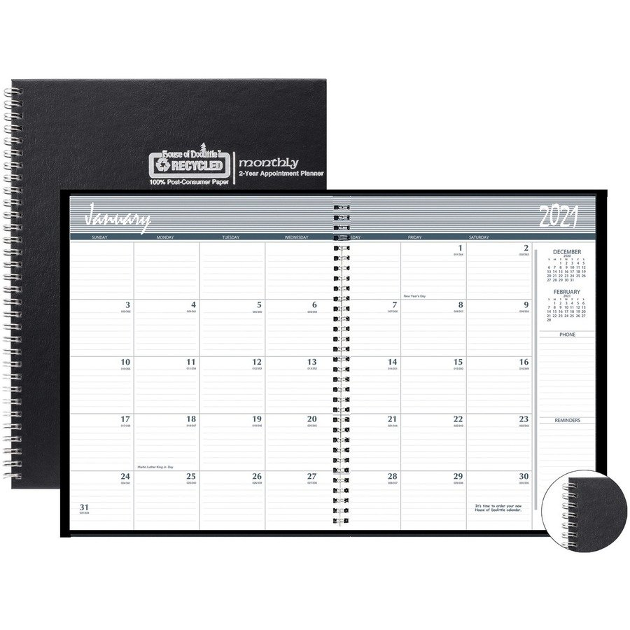 Hod262092 - House Of Doolittle Monthly Calendar Planner 2 8 1/2 X 11 Monthly Calendar Pages