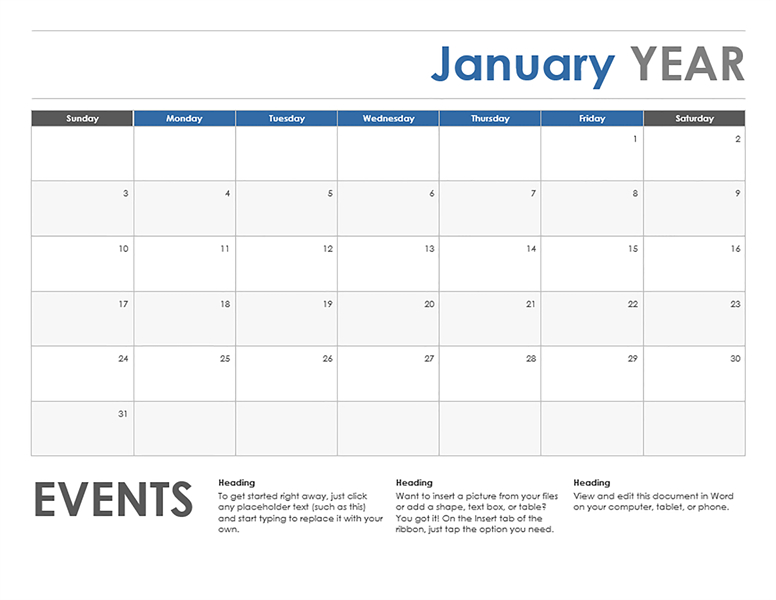 Horizontal/Event Monthly Calendar Template | Exceltemplate Word 5 Day Calander