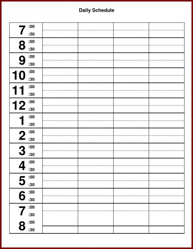 Hourly Calendar Template   Template Business Day Calendar With Times