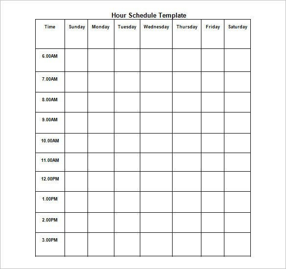 Hourly Schedule Template - 11+ Free Sample, Example Format Blank Time Table For 7 Days