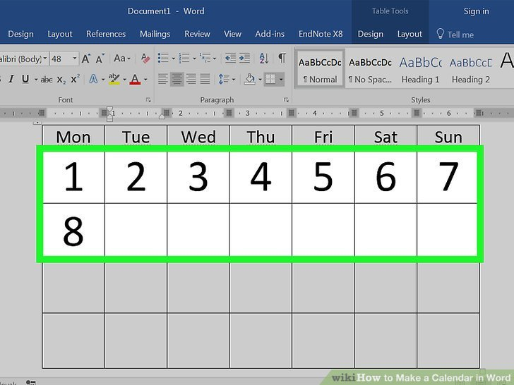 How To Make A Calendar In Word (With Pictures) - Wikihow How To Make A Calendar In Word Monday Through Sunday