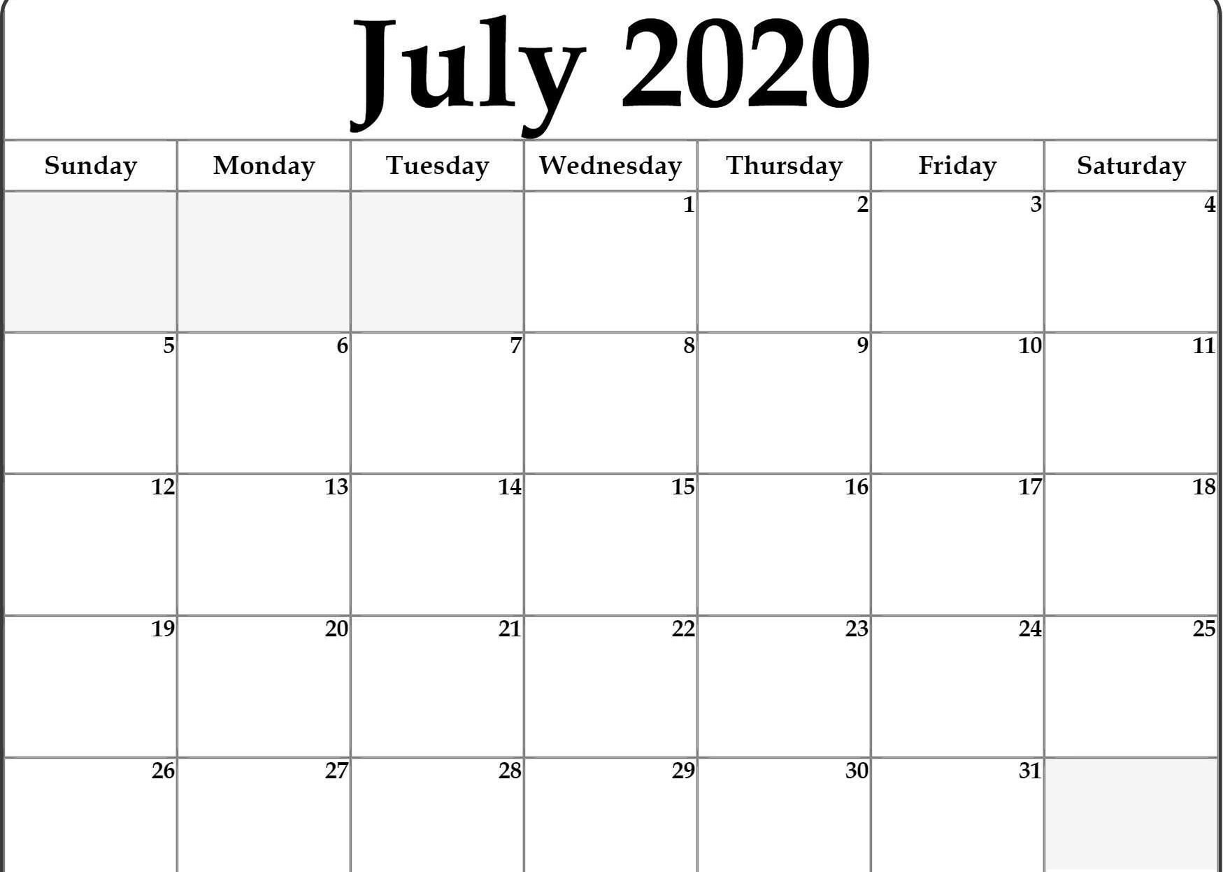 How To Printable Calendar Monthly Fill In In 2020 | July Free Fill In Weekly Schedule