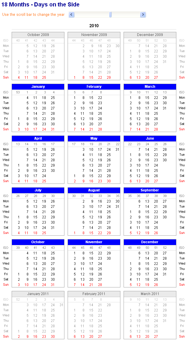 Image Of Adjustable And Printable Excel Calendar - 18 Sprint Days Calendar Excel