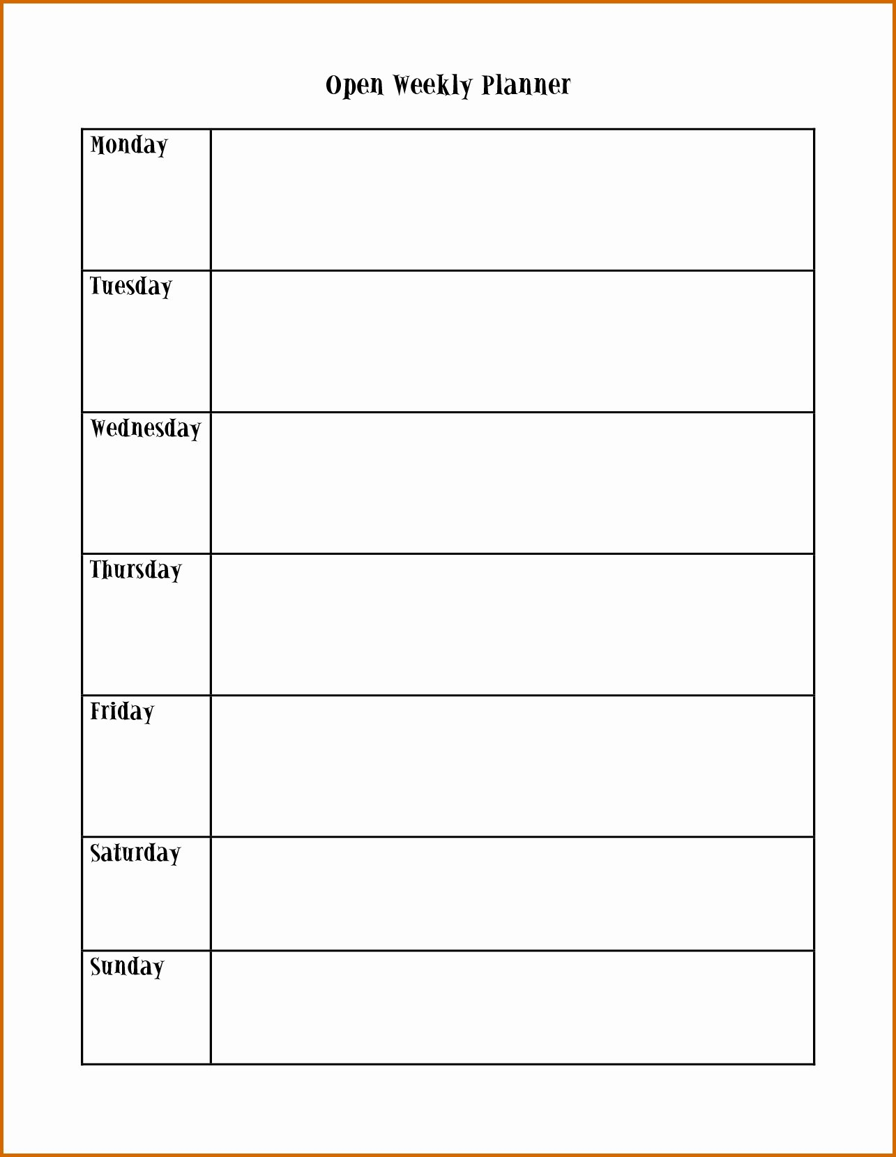 Image Result For Blank Calendar Page Monday Through Sunday Sunday Through Saturday Template