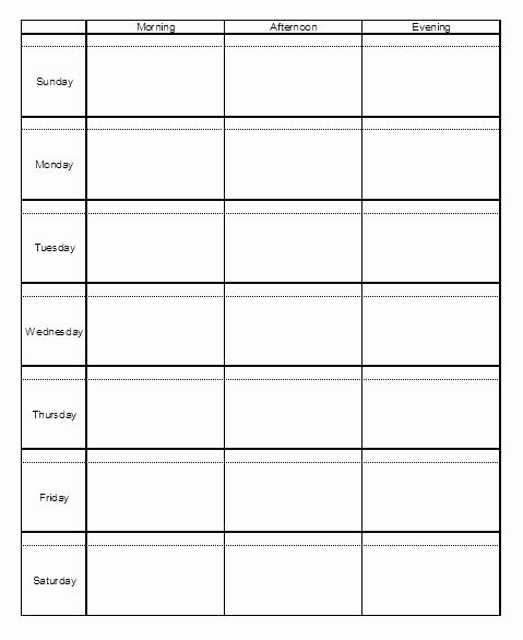 Inspirational Monday Through Friday Schedule Template Schedule Template Printable Monday- Sunday