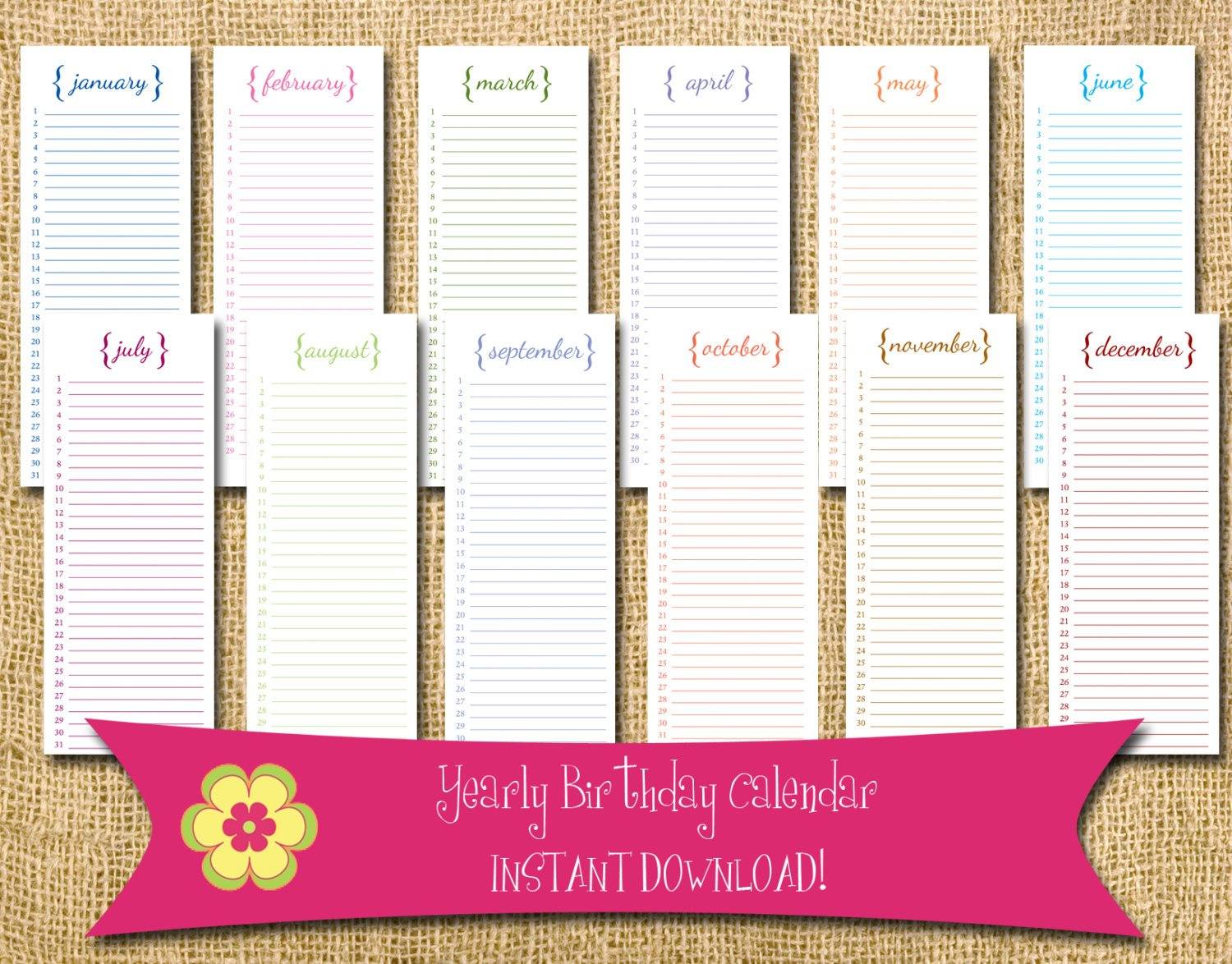 Instant Download Perpetual Birthday Calendar With Brackets Free Printable Birthday Calendars