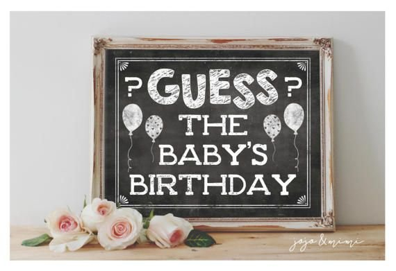 Instant 'Guess The Baby'S Birthday' Chalkboard Printable Guess The Babys Birthday