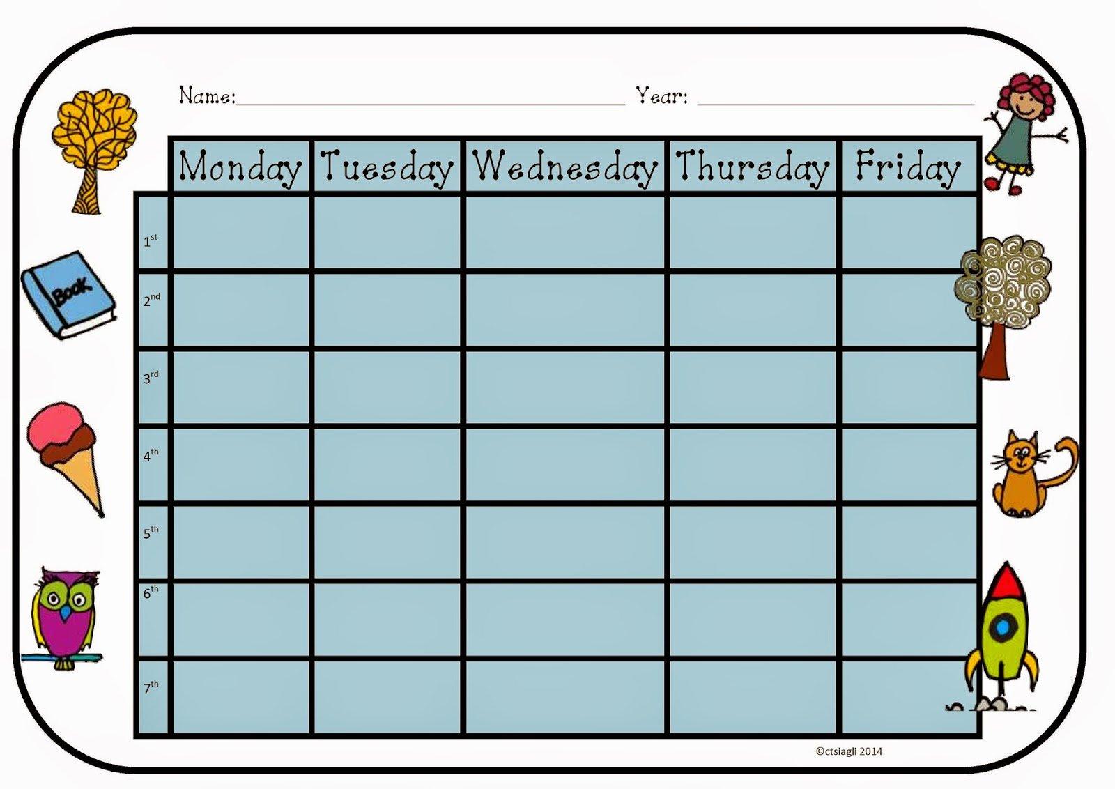 I,Teacher: Printable Weekly Timetables 8 Week Printable Timetable