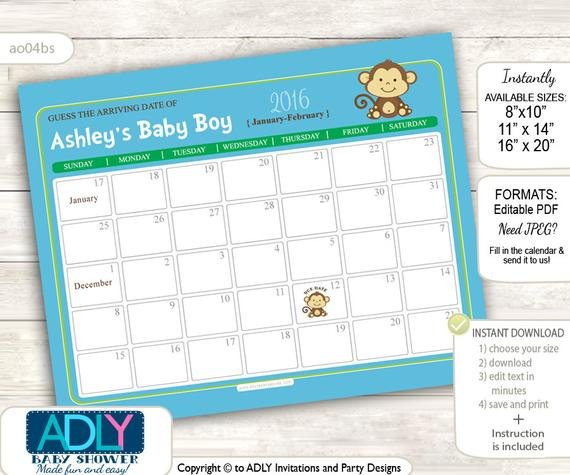 Items Similar To Boy Monkey Guess Due Date Calendar For Guess The Baby Due Date Elephant Calendar