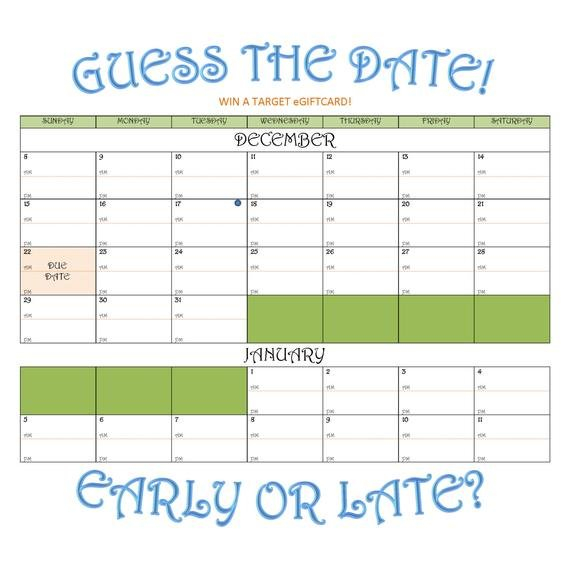 Items Similar To Due Date Guess Calendar On Etsy Guess The Babys Birthday