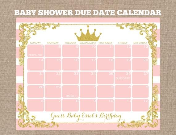 Items Similar To Princess Due Date Calendar, Princess Baby Baby Due Date Calendar