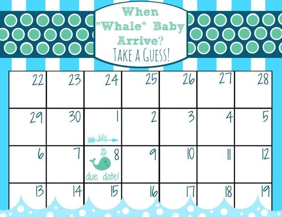 Items Similar To Printable Baby Due Date Calendar Free Printable Baby Guessing Calendar