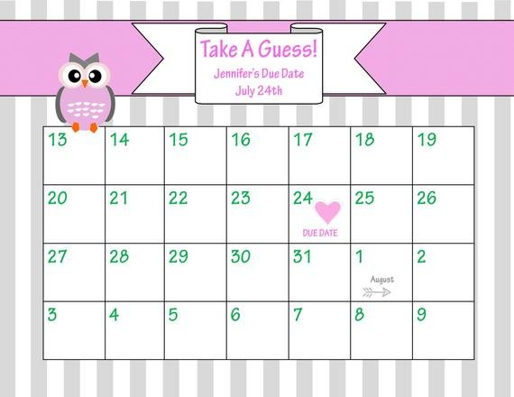 Items Similar To Printable Due Date Calendar // Baby Baby Due Date Calendar Template