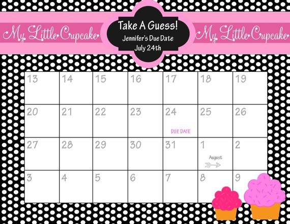 Items Similar To Printable Due Date Calendar // Baby Free Printable Baby Guessing Calendar