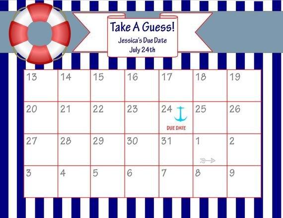 Items Similar To Printable Due Date Calendar // Baby Guess The Baby Due Date Calendar