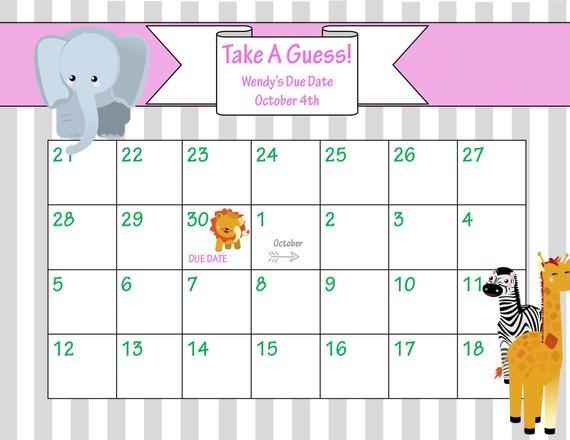 Items Similar To Printable Due Date Calendar // Baby Printable Baby Calendar Due Date