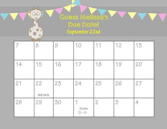 Items Similar To Printable Due Date Calendar // Baby Printable Baby Due Date Calendar