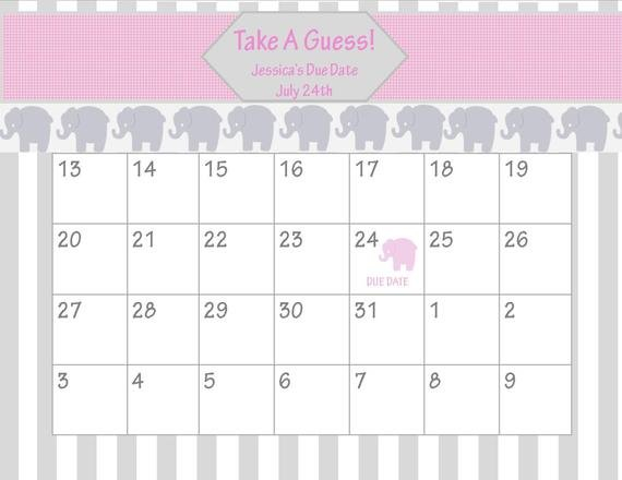 Items Similar To Printable Due Date Calendar // Baby Printable Due Date Guess