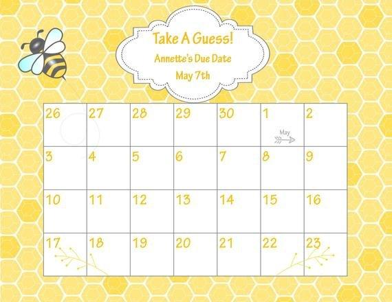 Items Similar To Printable Due Date Calendar // Bee Baby Printable Baby Calendar Due Date