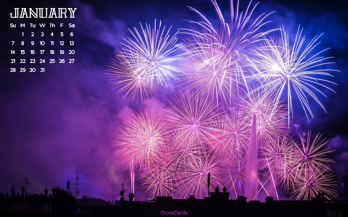January 2018 - Fireworks Desktop Calendar- Free January Download Crosscards Monthly Calendar For Computer Background