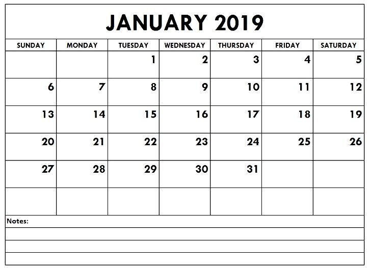 January 2019 Calendars Template With Notes Section Calendar Template With Notes Section