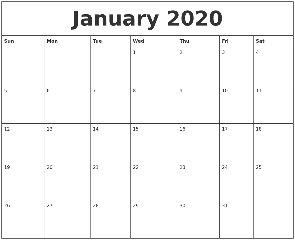 January 2020 Blank Schedule Template Empty Monday Through Sunday Schedule