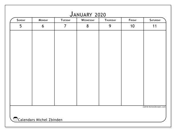 January 2020 Calendar (43-2Ss) - Michel Zbinden En Printable Calendar For Every 2 Weeks