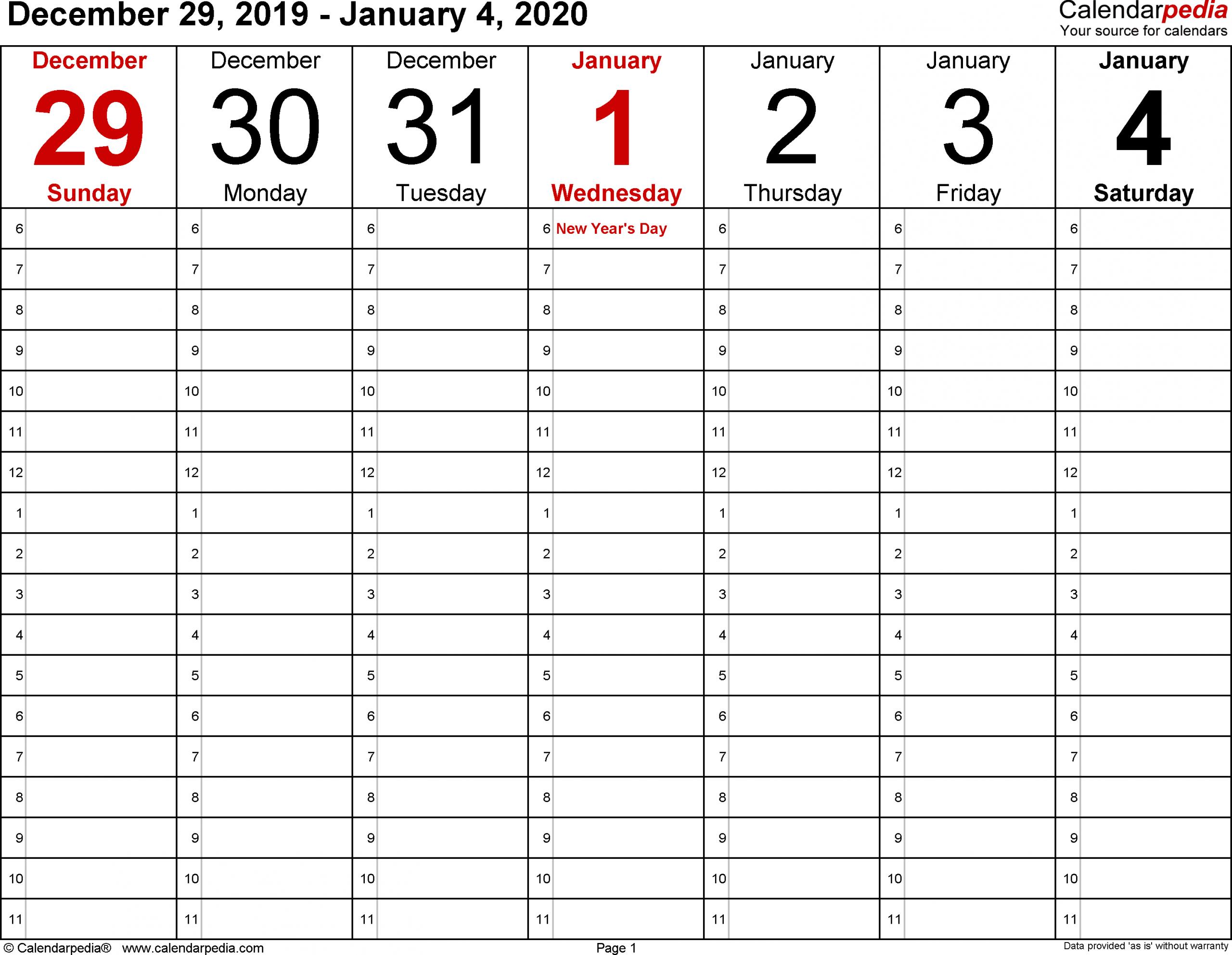 January 2020 Calendar Pdf, Excel, Word Printable Templates 4 Week Blank Calender Template