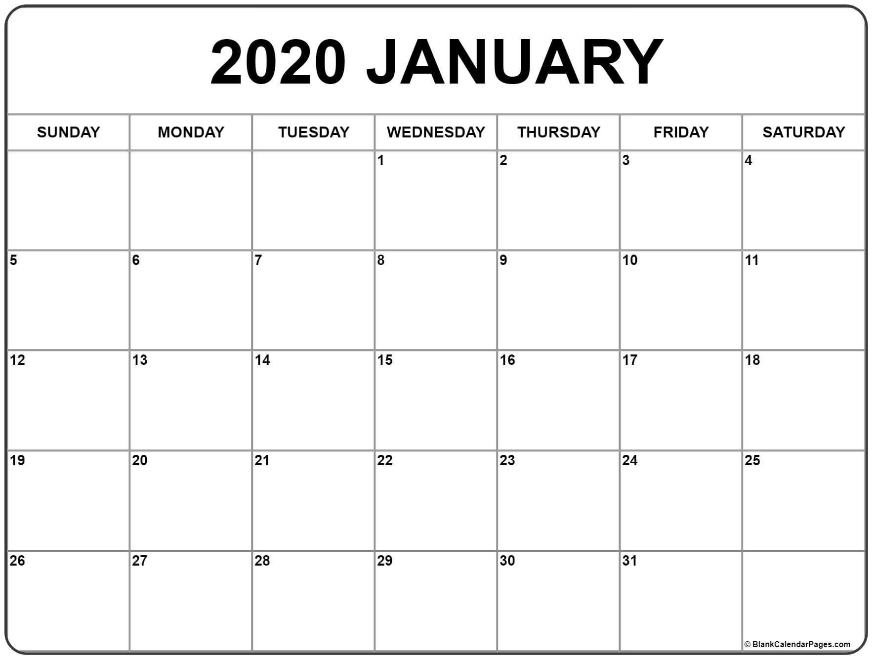 January 2020 Calendar Printable (With Images) | Monthly 8 Week Calendar Doc