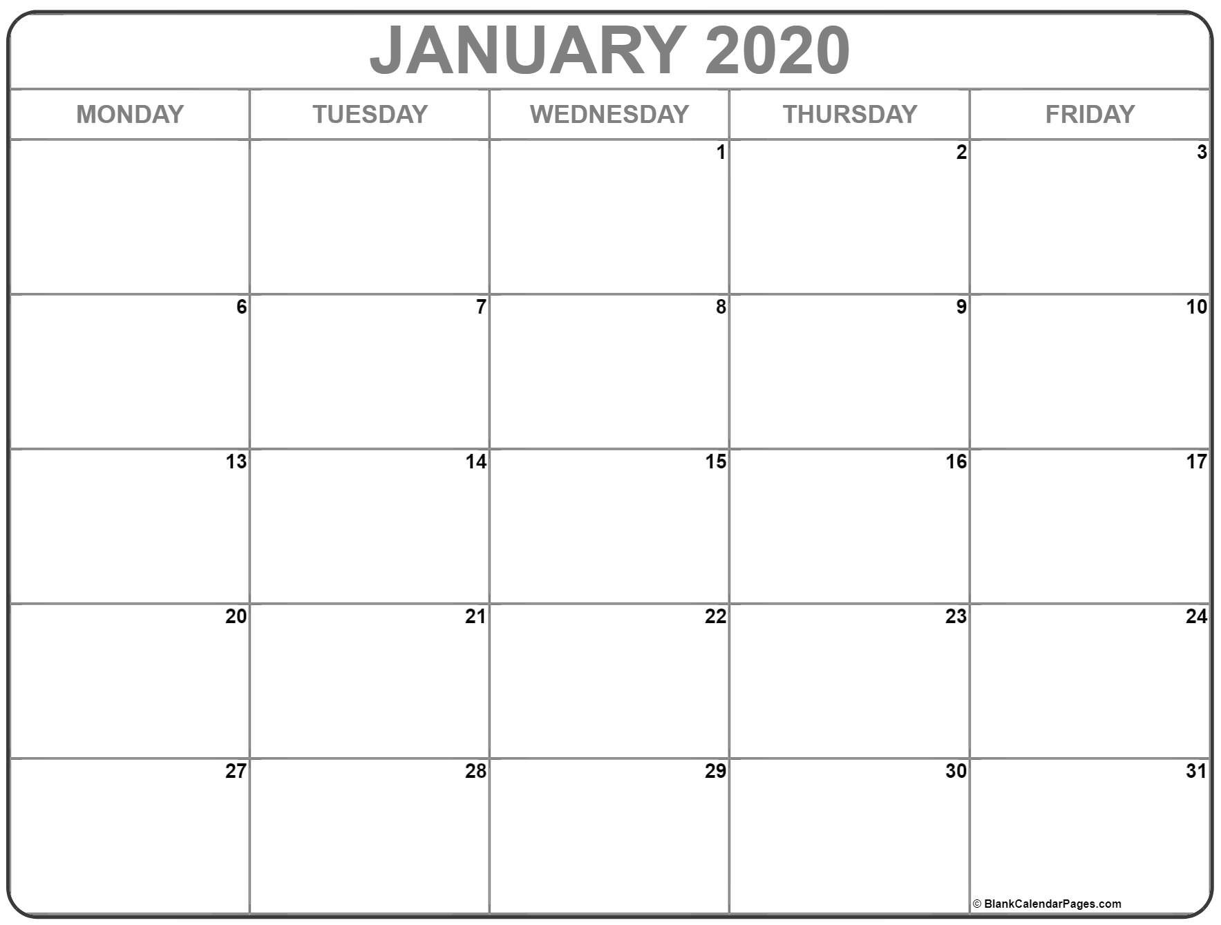 January 2020 Monday Calendar | Monday To Sunday Monday Thru Friday Printable Calendar