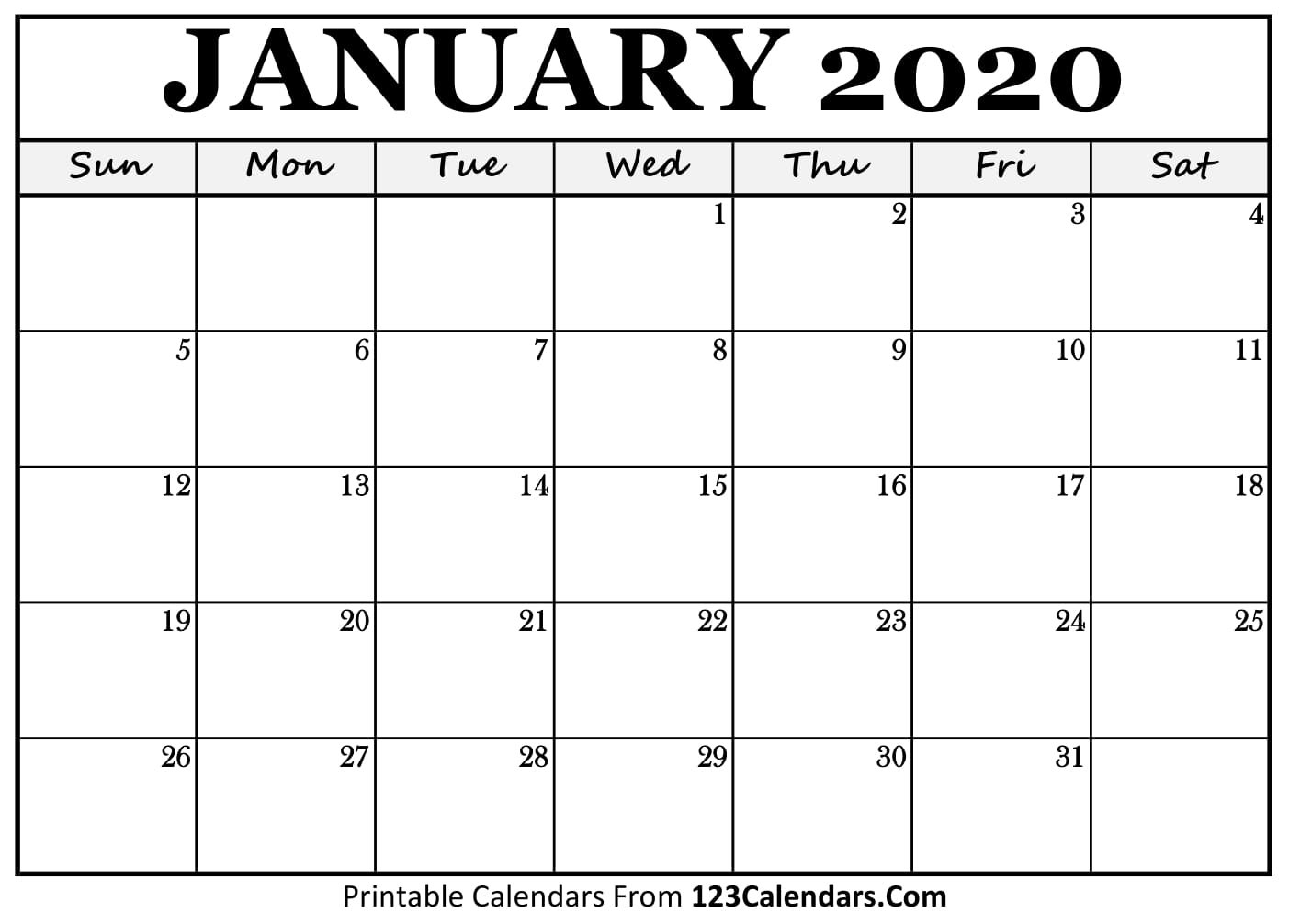 January 2020 Printable Calendar | 123Calendars Blank Calendars To Fill In Online
