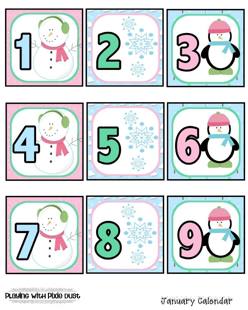 January Calendar Pcs. | January Calendar, Preschool Printable Numbers 1-31 Classroom Sets