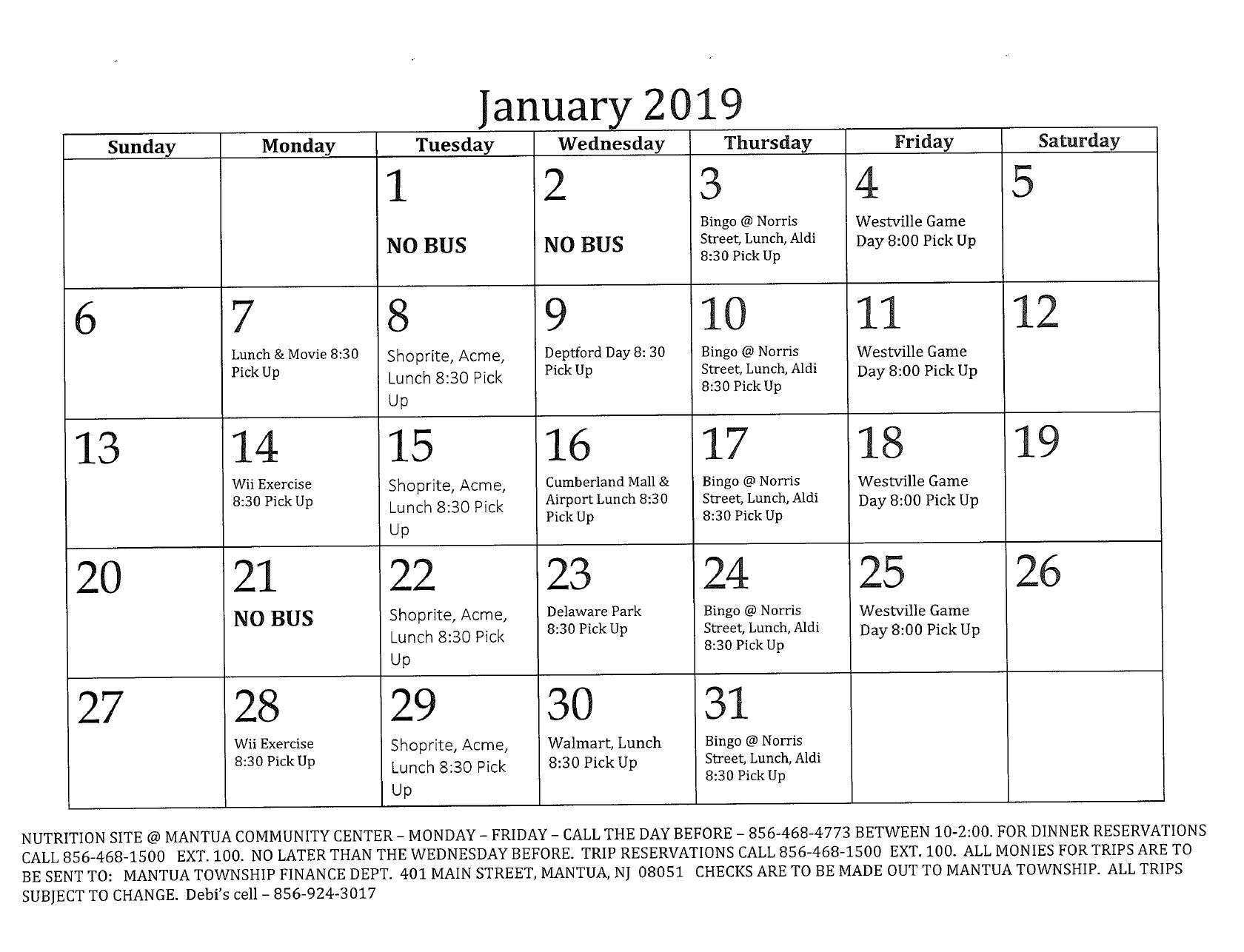 January Senior Calendar - Mantua Township Content Calendar For Member Newsletters