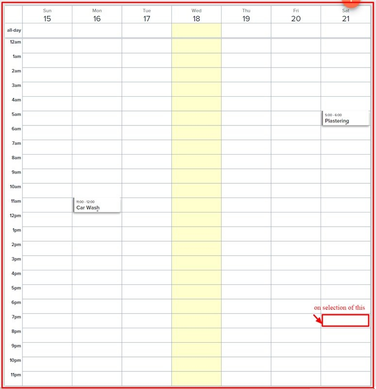 Javascript - Full Calendar: On Click Of Time Slot Wrong Month Calendar With Time Slots