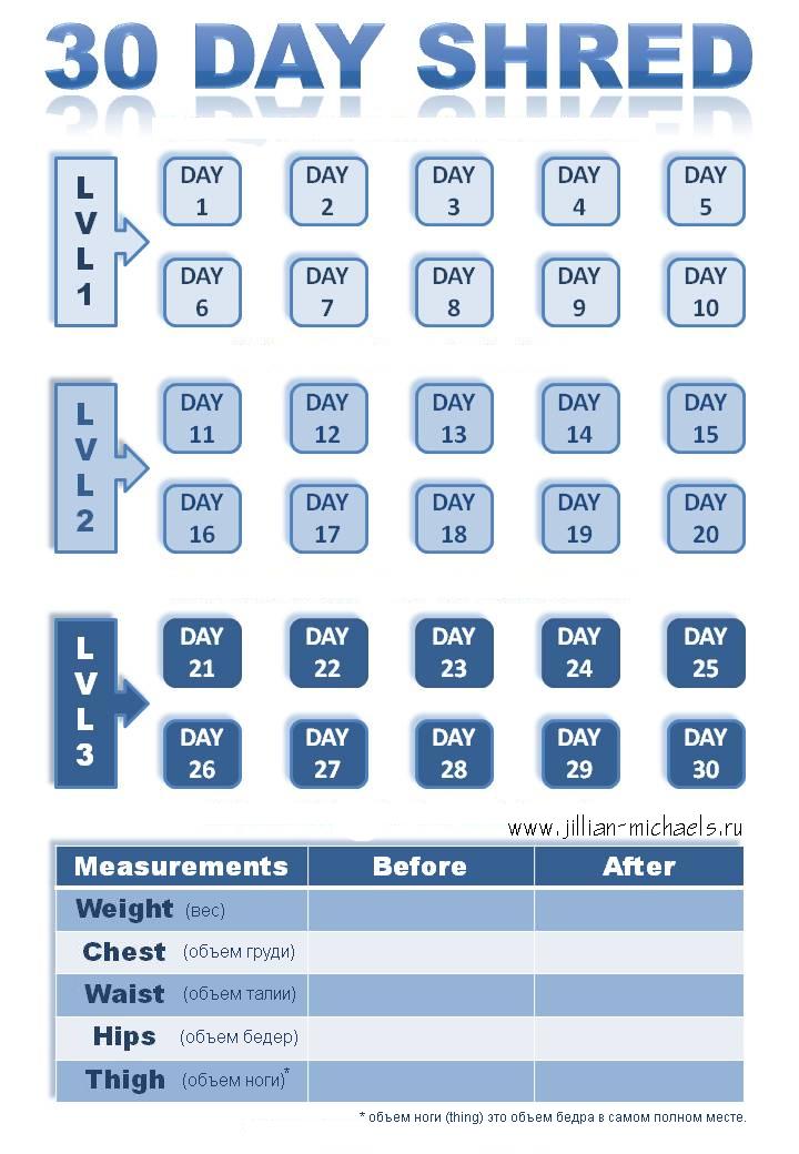 Jillian Michaels 30 Day Shred Calendar | 30 Day Shred 30 Day Shred Countdown Printable Free