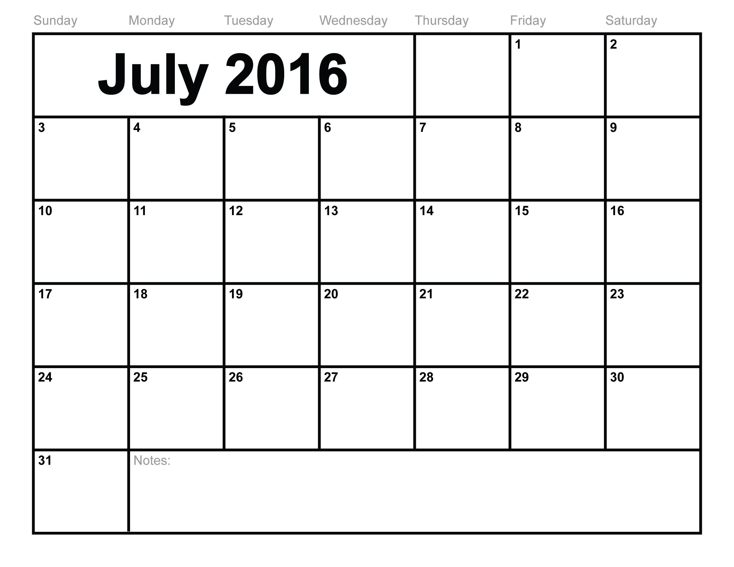 July 2016 Calendar - Fotolip Rich Image And Wallpaper Image Of Month Calendar