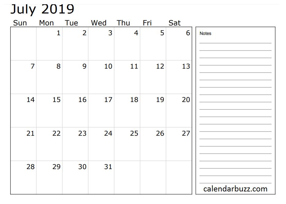 July 2019 Calendar With Notes | 2019 Calendar, Calendar Calendar Template With Notes Section