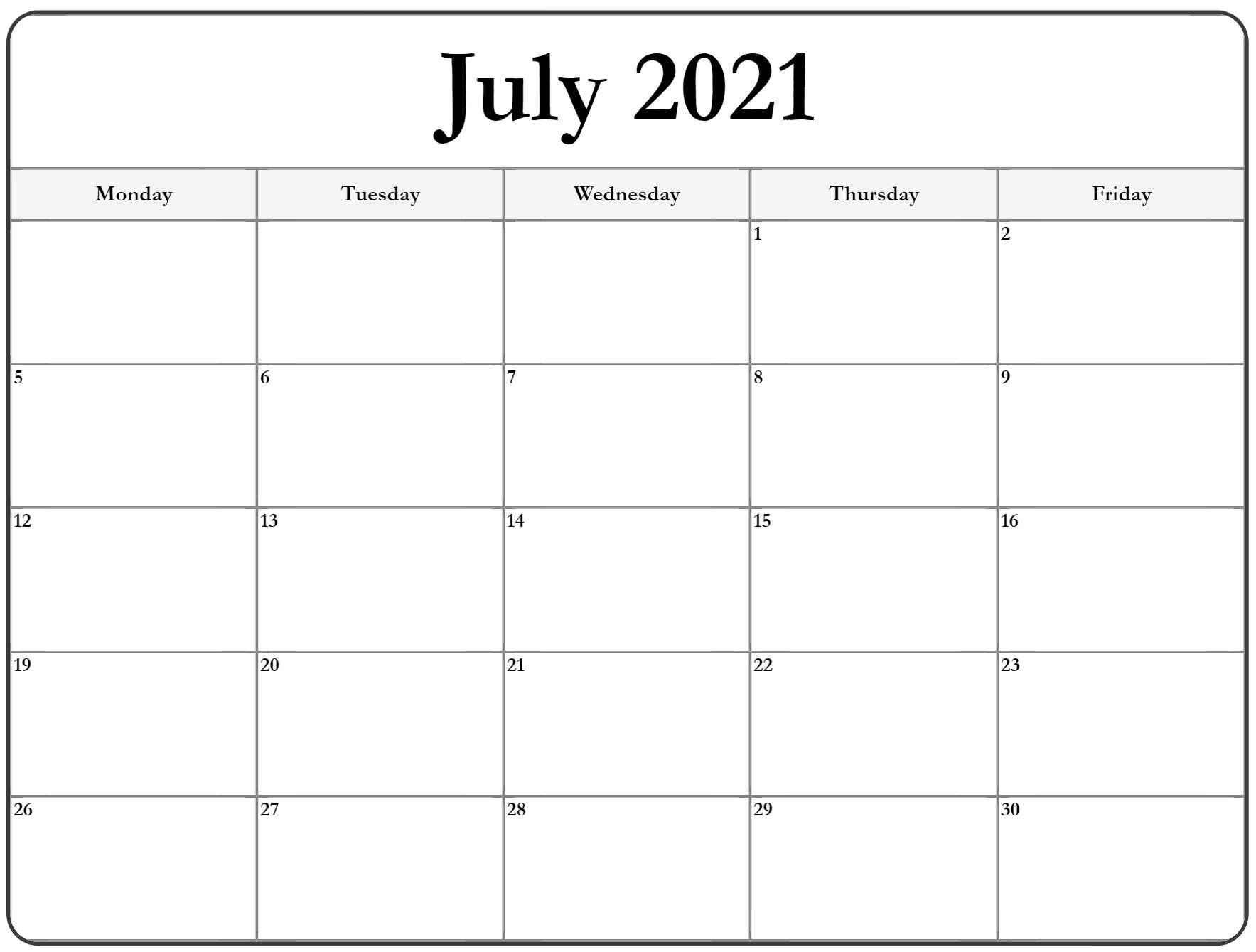 July 2021 Monday Calendar | Monday To Sunday Printable Monday Through Friday Monthly Calendar Free