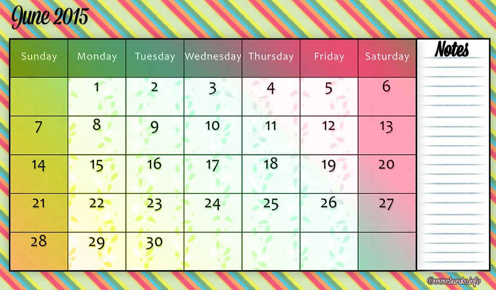 June 2015 | The Crafty Lady In Combat Boots Printable Calendar I Can Edit