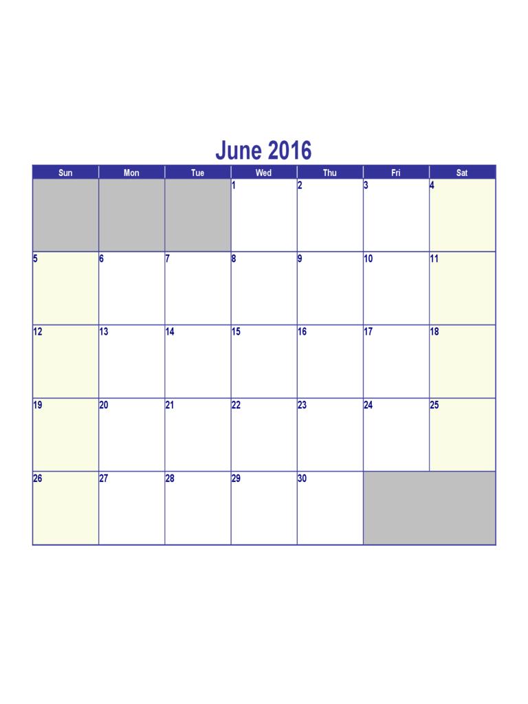 June 2016 Calendar Template - Edit, Fill, Sign Online How To Fill June Calendar