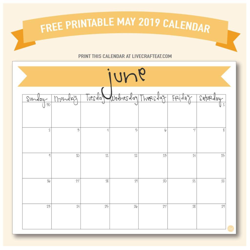 June 2019 Calendar - Free Printable | Live Craft Eat Fill In June Calendar