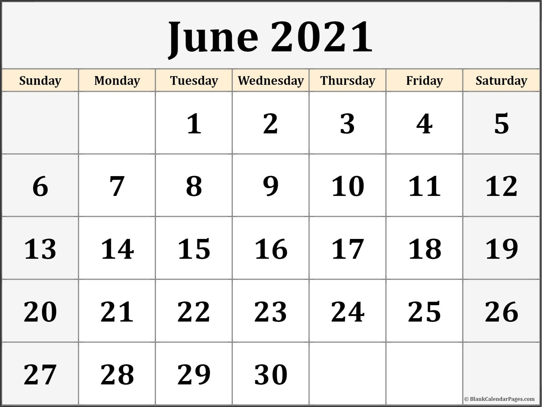 June 2021 Calendar | Free Printable Monthly Calendars Image Of Month Calendar